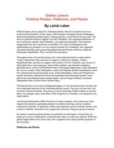 Online Lesson Political Parties, Platforms, and Planks Lesson Plan