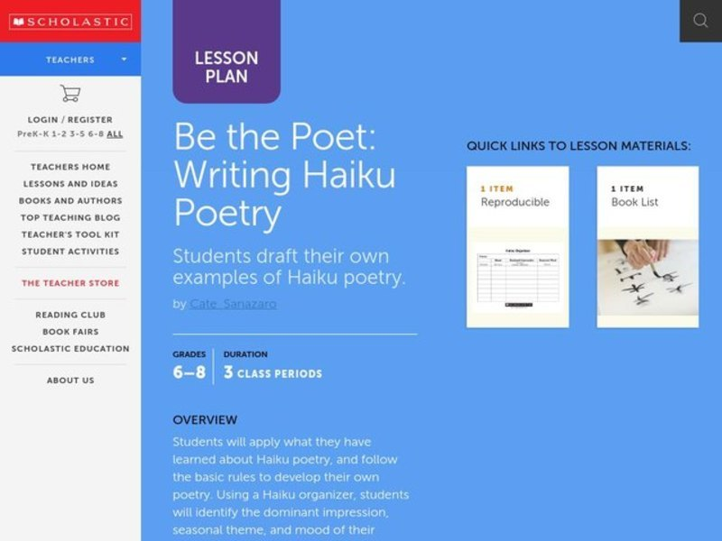 Be the Poet Lesson Plan