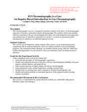 #13 Chromatography is a Gas: An Inquiry-Based Introduction to Gas Chromatography Lesson Plan