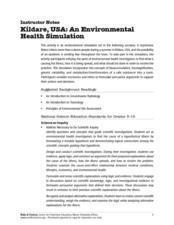 Kildare, USA: An Environmental Health Simulation Lesson Plan