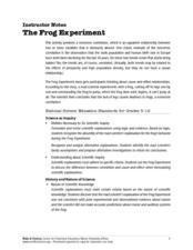 The Frog Experiment Lesson Plan