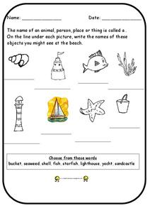 Beach Nouns Worksheet