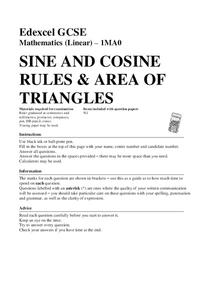 Sine and Cosine Rules and Area of Triangles Assessment