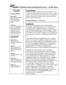 Writing Formal and Informal Letters Lesson Plan