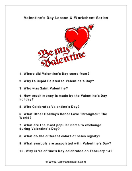 Be My Valentine Worksheet