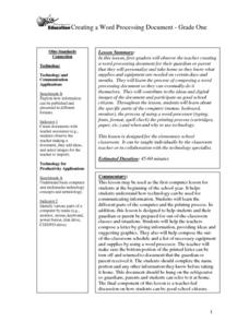 Creating a Word Processing Document Lesson Plan