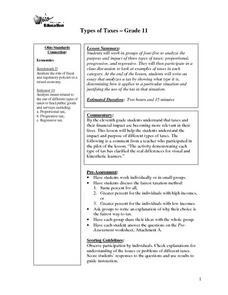 Types of Taxes Lesson Plan