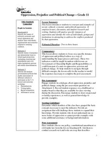 Oppression, Prejudice and Political Change Lesson Plan