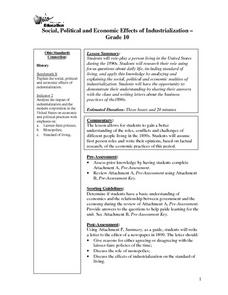 Social, Political and Economic Effects of Industrialization Lesson Plan