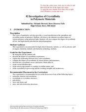 Investigation of Crystallinity in Polymeric Materials Lesson Plan