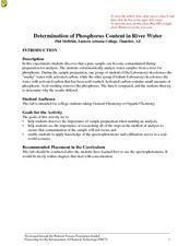 Determination of Phosphorus Content in River Water Lesson Plan