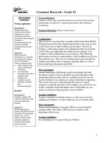 Consumer Research Lesson Plan