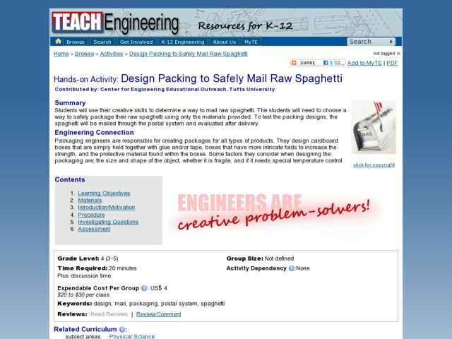 Design Packing to Safely Mail Raw Spaghetti Lesson Plan