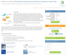 Building-Testing-Improving Paper Airplanes: Head's Up! Activities & Project