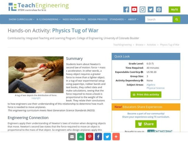 Physics Tug of War Activities & Project