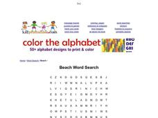 Beach Word Search Worksheet