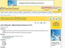 Life in Plymouth - Pilgrim Study Unit Lesson Plan