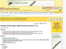 Planning for the Voyage - Pilgrim Study Unit Lesson Plan