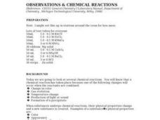 Observations & Chemical Reactions Lesson Plan