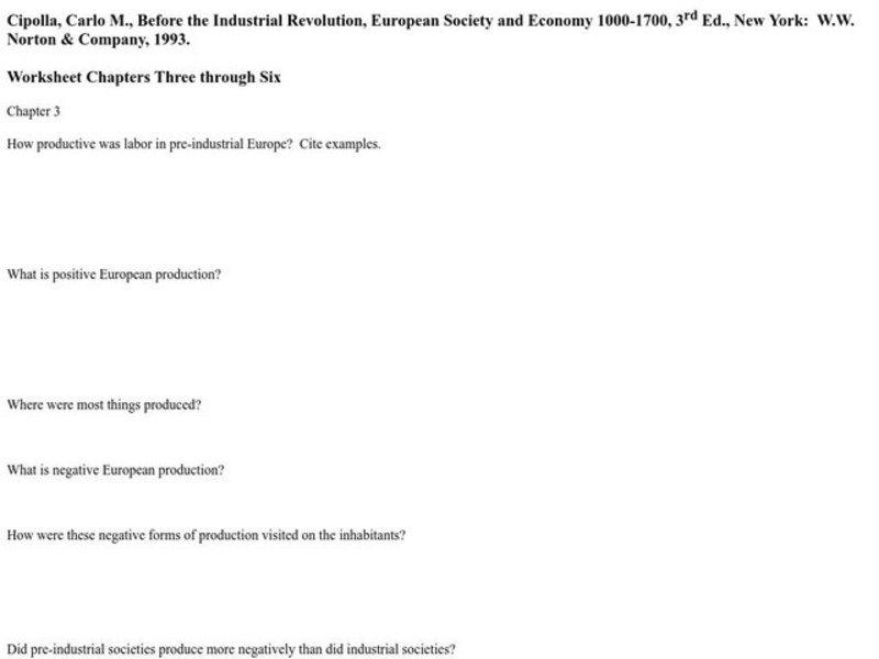 Before the Industrial Revolution Worksheet for 12th Grade