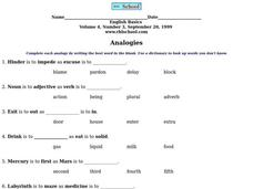 Beginning Analogies Worksheet