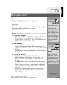 Rhymes in a Row Lesson Plan