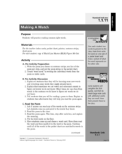 Making a Match Lesson Plan