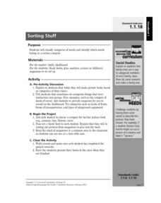 Sorting Stuff Lesson Plan