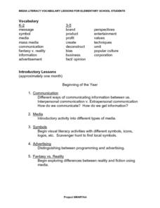 Media Literacy Vocabulary Lesson Lesson Plan