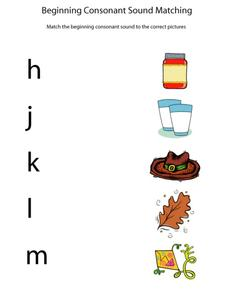 Beginning Consonant Sound Matching Worksheet