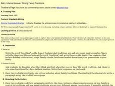 Writing about Family Traditions Lesson Plan
