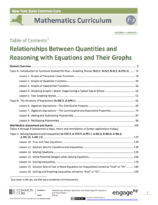 Relationships Between Quantities and Reasoning with Equations and Their Graphs Unit