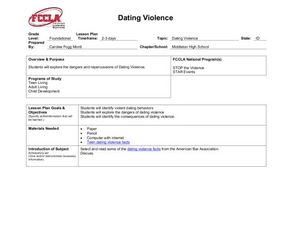 Dating abuse lesson plans