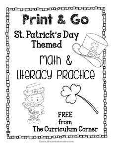 St. Patrick's Day Themed Math and Literacy Practice Printables & Template