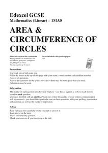 Area and Circumference of Circles Assessment