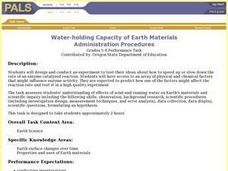 Water-holding Capacity of Earth Materials Lesson Plan