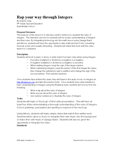 Rap Your Way Through Integers Lesson Plan