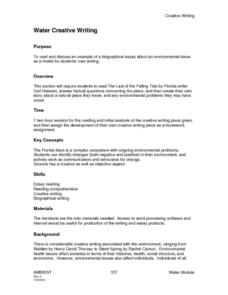 Water Creative Writing Lesson Plan
