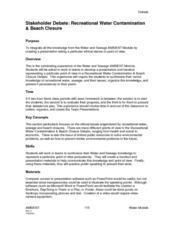 Recreational Water Contamination and Beach Closurew Lesson Plan