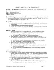 Notes Worksheet on Juvenile Justice &amp- Crossword - criminal law by ...