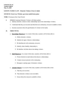 FAMILY LAW - Domestic Violence (Teen & Adult) Lesson Plan