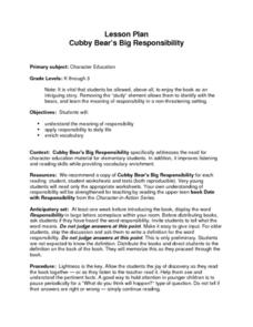 Cubby Bear's Big Responsibility Lesson Plan