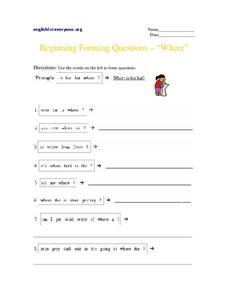 "Beginning Forming Questions - ""Where"" Worksheet"