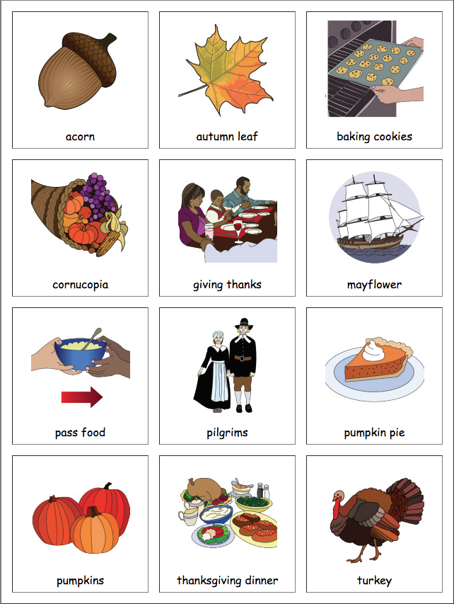 Thanksgiving Picture Cards Printables & Template