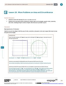 More Problems on Area and Circumference Lesson Plan