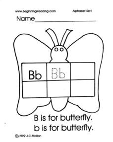 Beginning Reading: The Letter B Worksheet