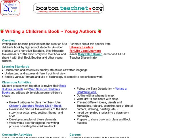 Writing a Children's Book -- Young Authors Lesson Plan for