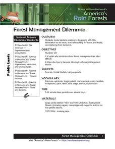 Forest Management Dilemmas Lesson Plan