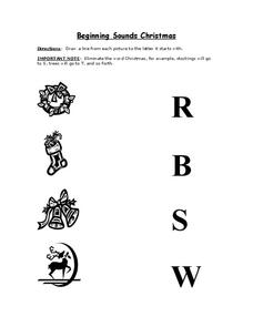 Beginning Sounds Christmas Worksheet