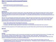 Conservation and Environmental Protection Lesson Plan